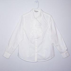 Boden ruffle front button down shirt NEW size 12